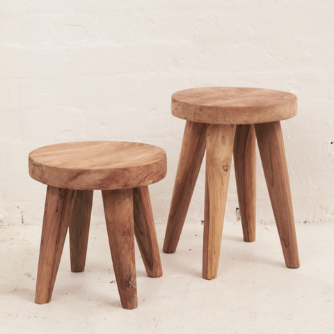 Recycled 4 Leg Teak Stool
