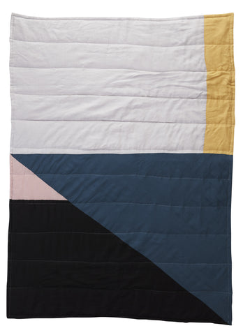 Geo Patchwork Linen Quilted Blanket - Autumn