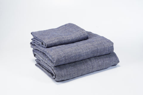 Herringbone Navy French Linen Sheet Set