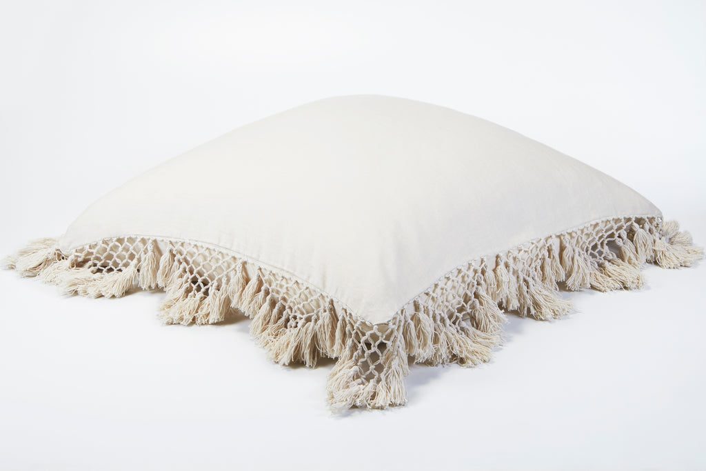 Hand Knotted Fringing European Pillowcase - Parchment