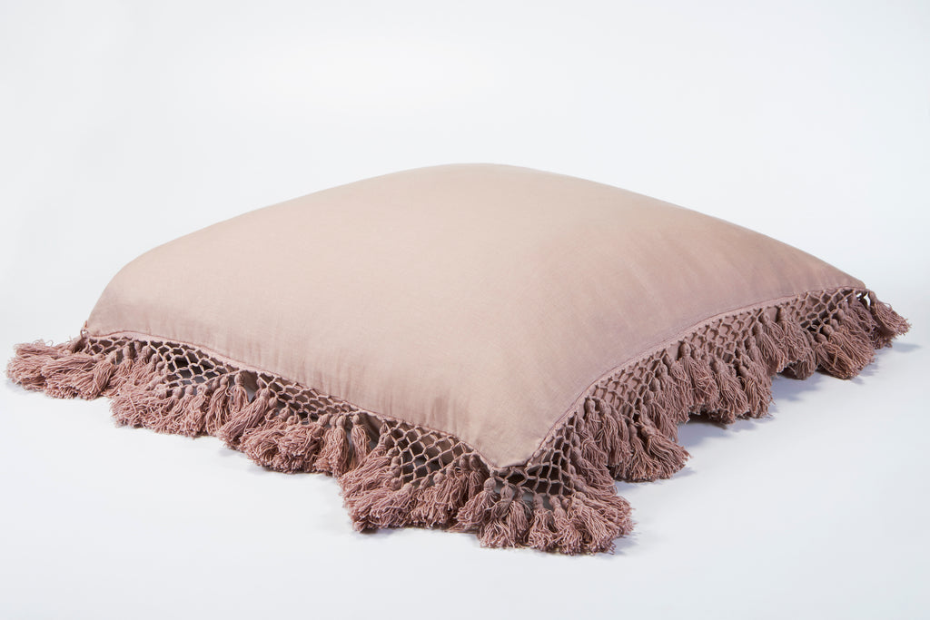 Hand Knotted Fringing European Pillowcase - Peony