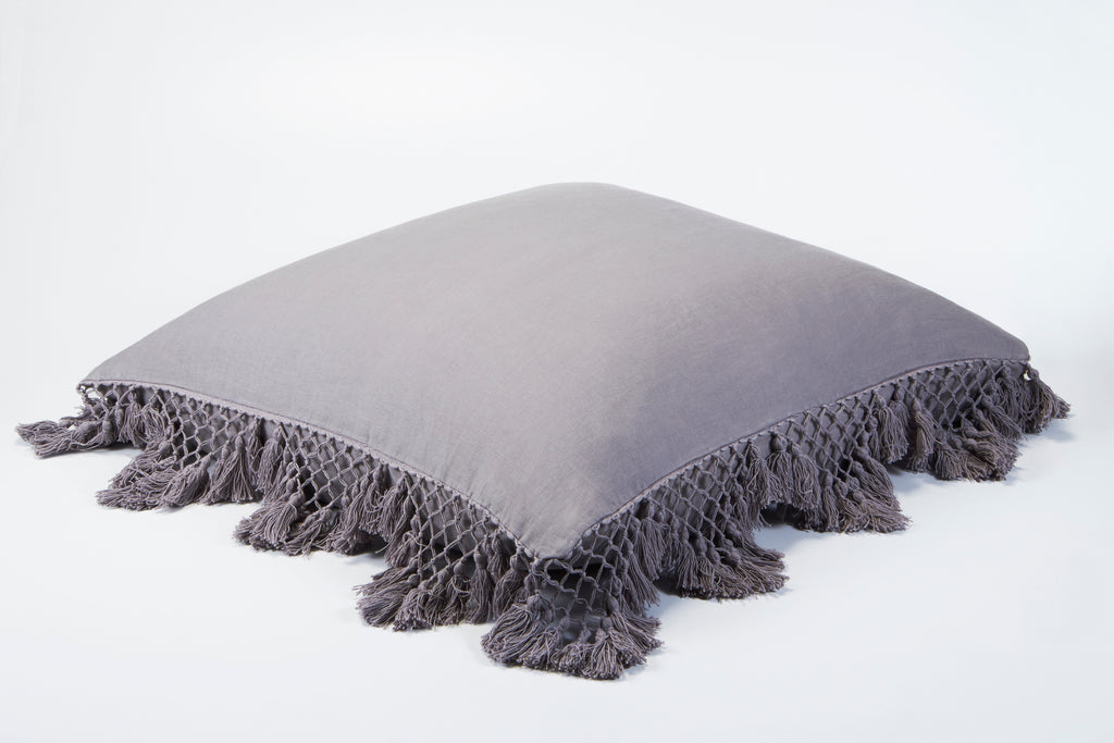 Hand Knotted Fringing European Pillowcase - Ash