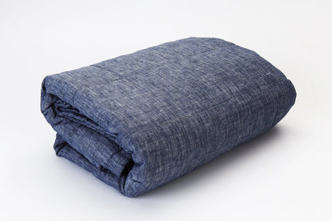 Linen Quilted Bed Cover - Denim