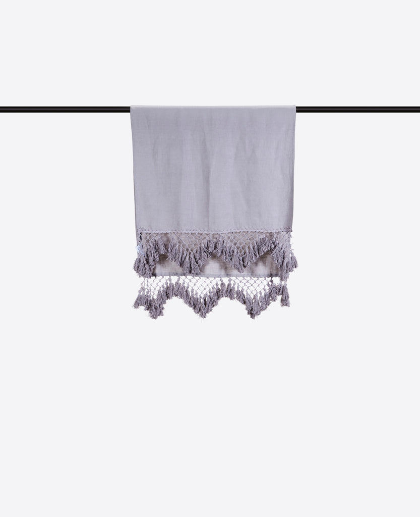 Hand Knotted Fringe Bath Sheet & Hand Towel - Ash