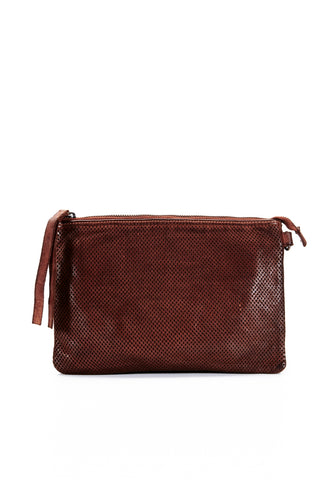 Leather Perforated Shoulder Bag - Cognac