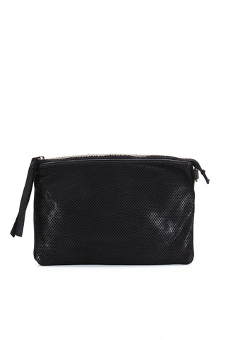 Leather Perforated Shoulder Bag - Black