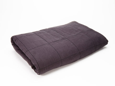 Linen Quilted Blanket - Oyster