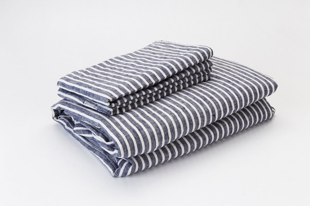 Blue Marine French Linen Sheet Set