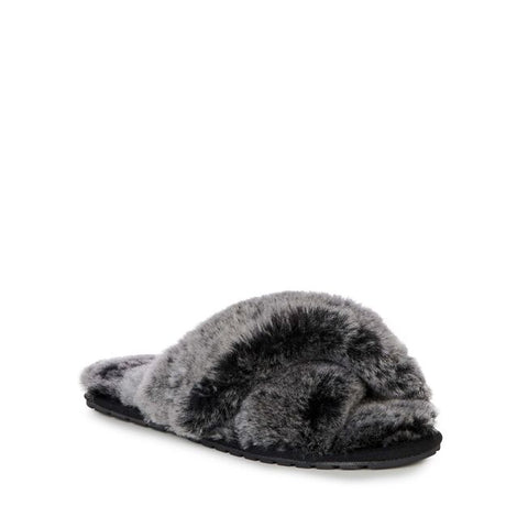 Sheep Skin Cross Front Slide Frost Black