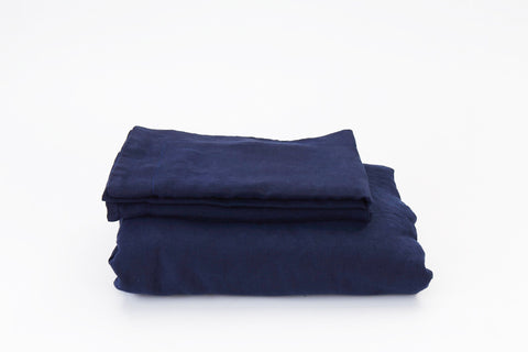 Dark Navy French Linen Duvet Set