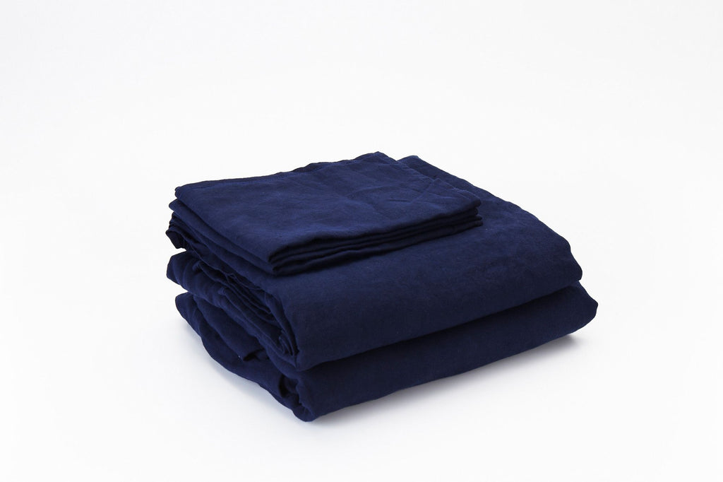 Dark Navy French Linen Sheet Set - FINAL FEW SETS