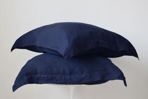 Dark Navy French Linen European Pillowcase Set