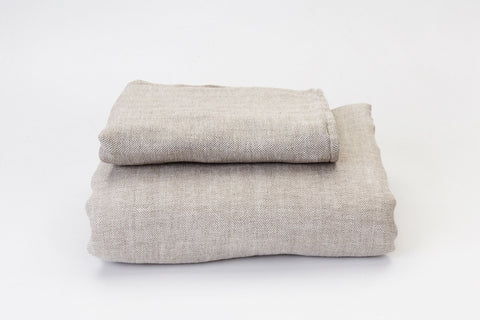 Herringbone Natural French Linen Duvet Set - NEW COLOUR