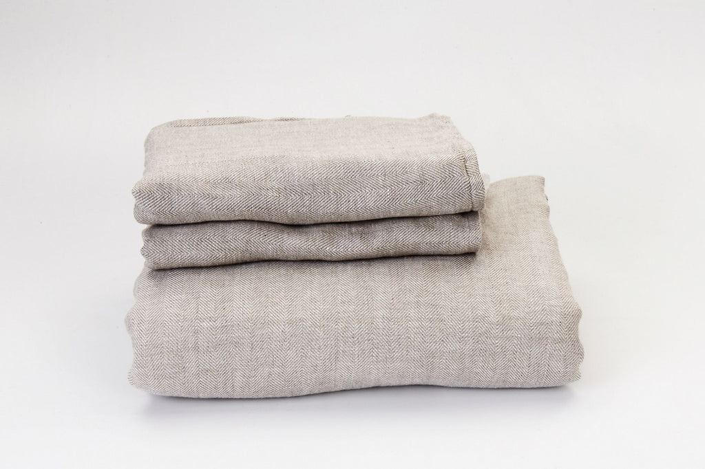 Herringbone Natural French Linen Sheet Set