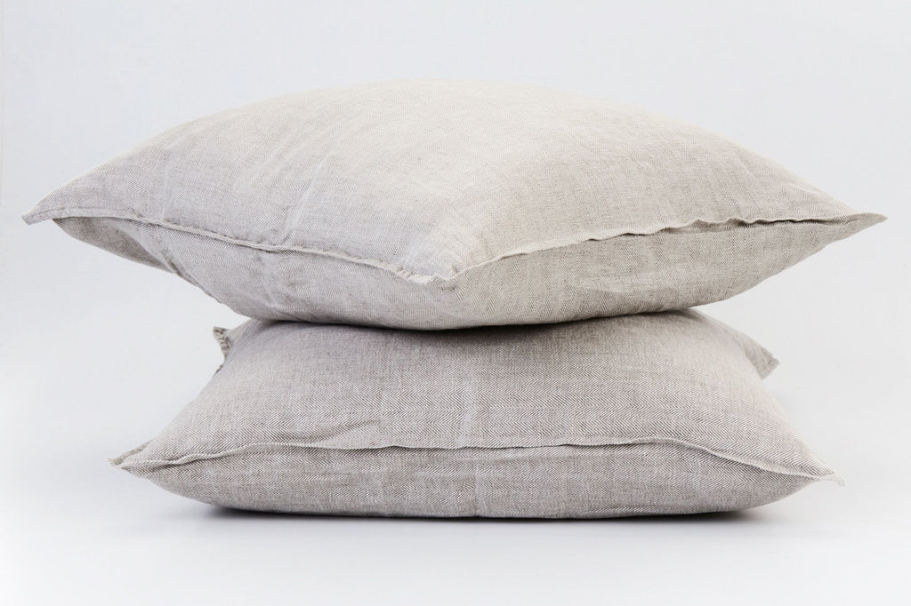 Herringbone Natural  French Linen European Pillowcase Set