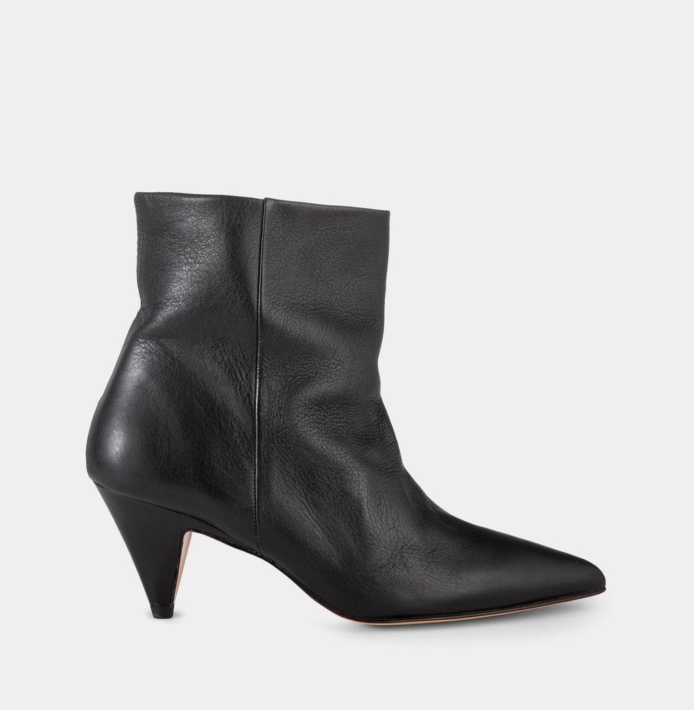 Soft Leather Black Ankle Boot