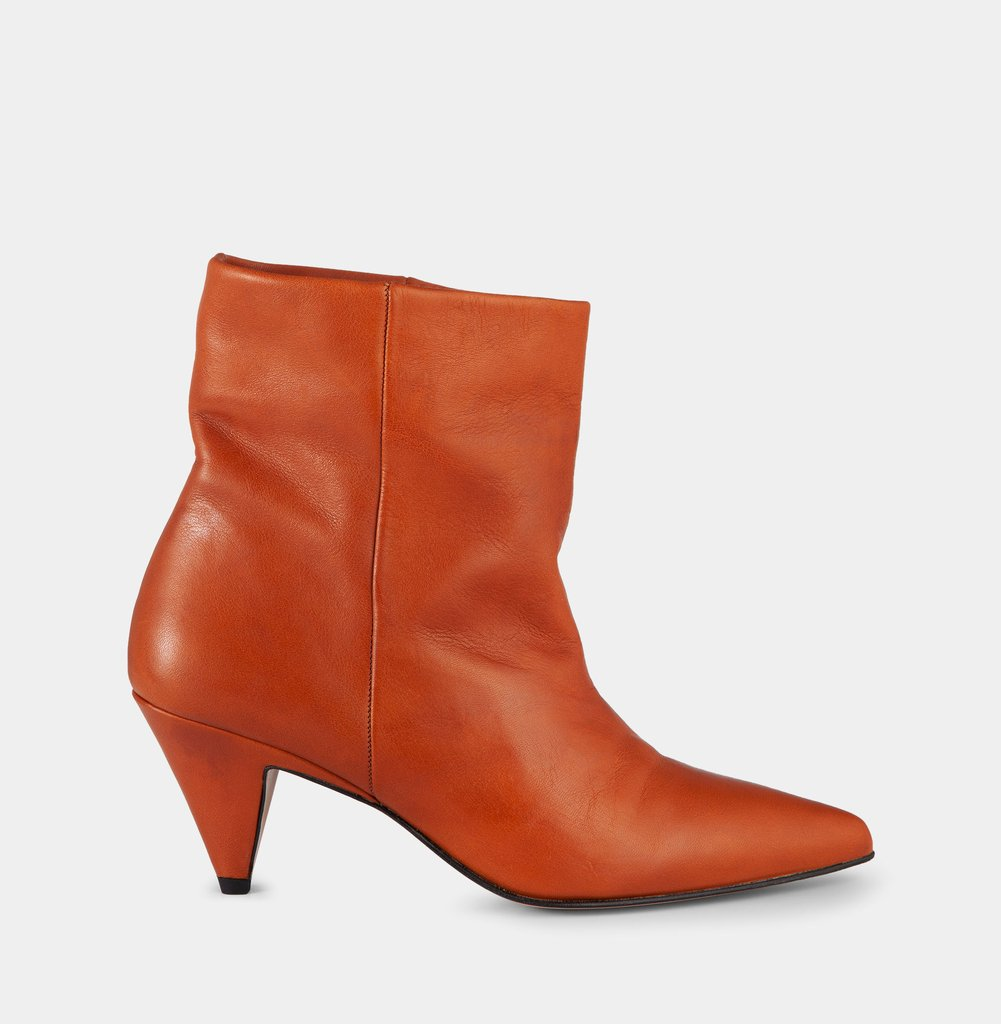 Soft Leather Cognac Ankle Boot