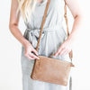 Leather Perforated Shoulder Bag - Natural