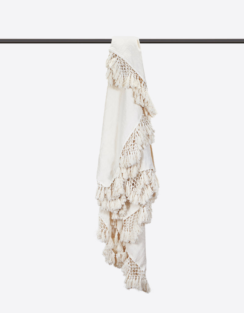 Hand Knotted Fringe Blanket - Parchment