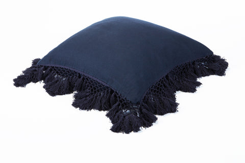 Hand Knotted Fringing Cushion - Prussian Blue
