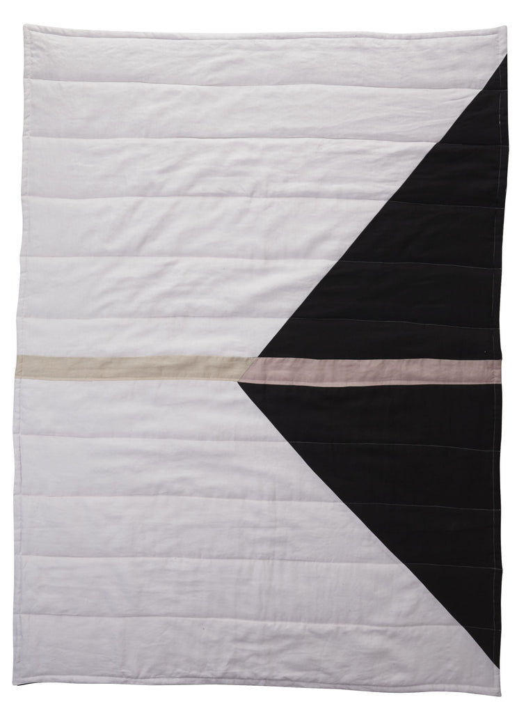 Geo Patchwork Linen Quilted Blanket - Snow