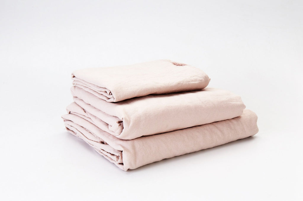 Tea Rose French Linen Sheet Set