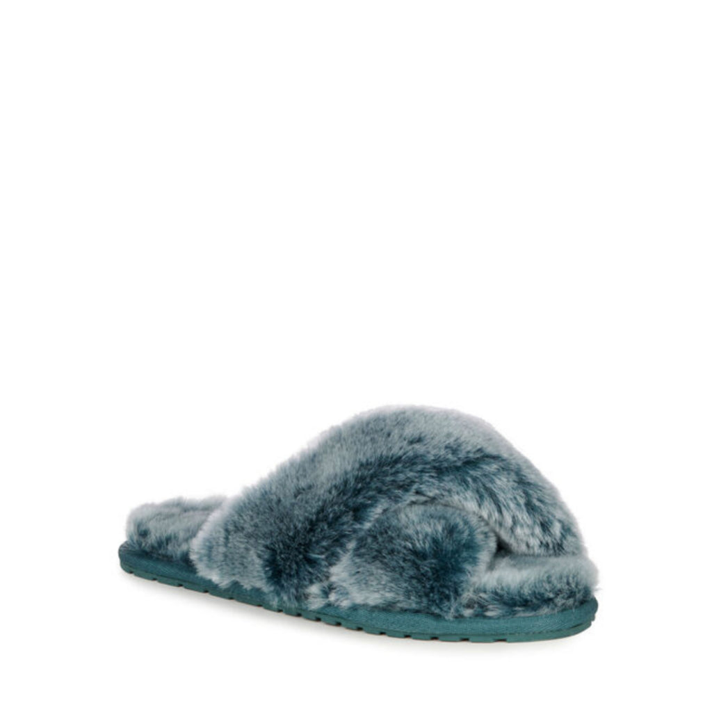 Sheep Skin Cross Front Slide Teal