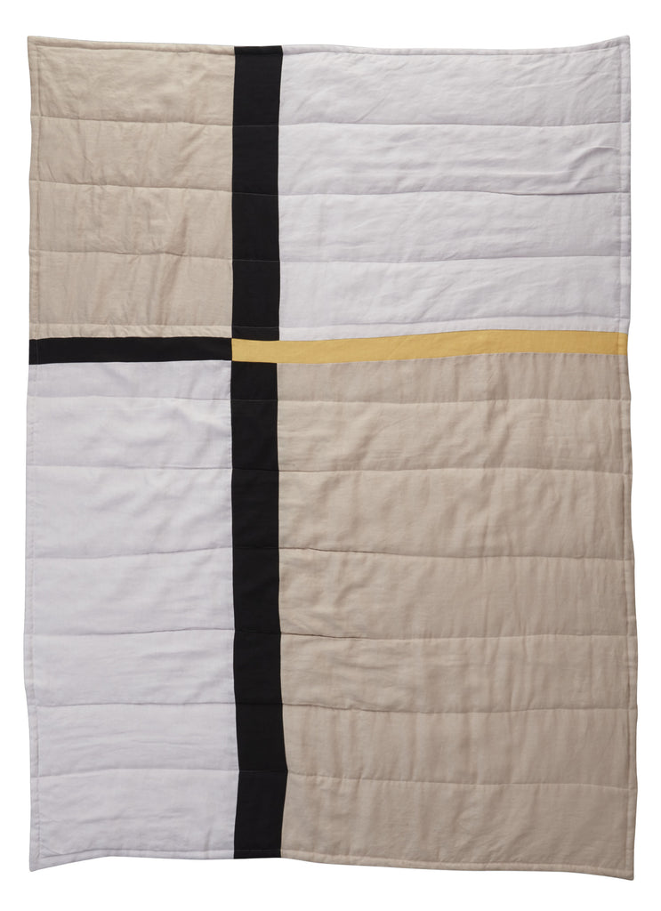 Geo Patchwork Linen Quilted Blanket - Winter