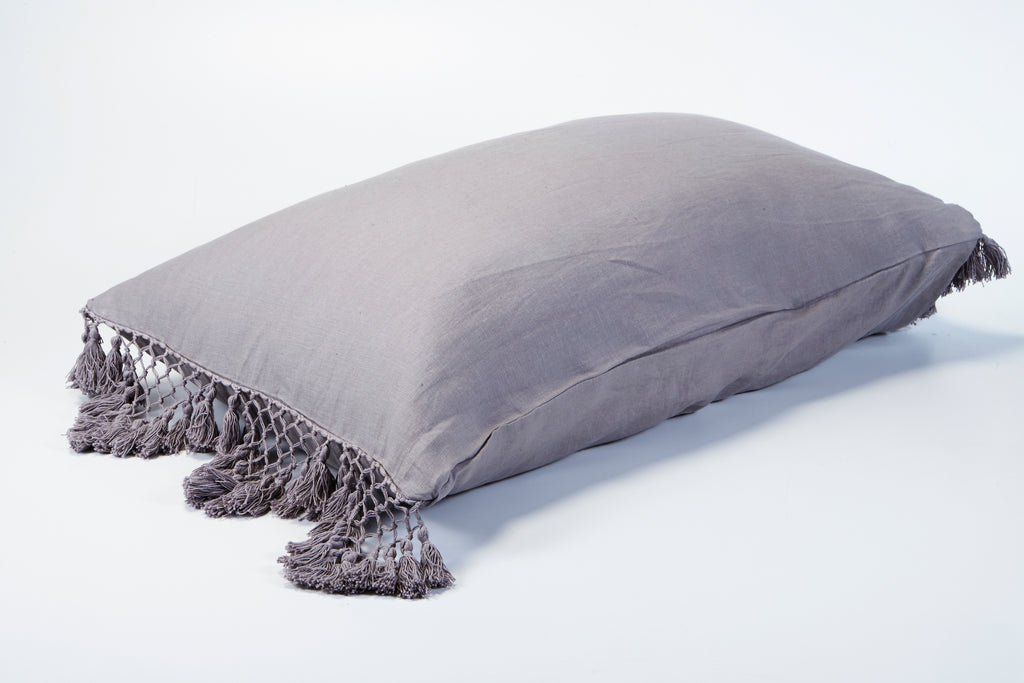 Hand Knotted Fringing Standard Pillowcase - Ash