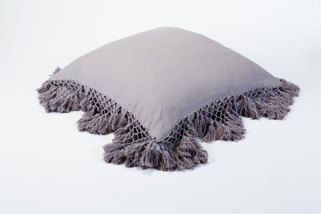 Hand Knotted Fringing Cushion - Ash