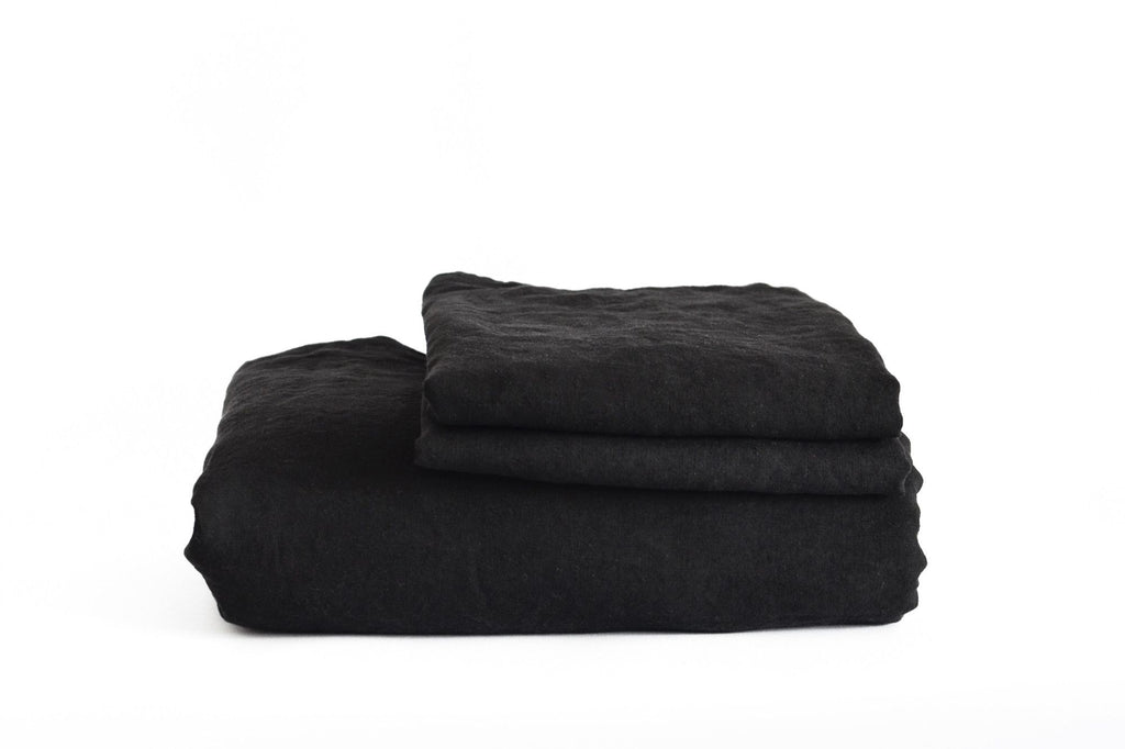 Coal French Linen Duvet Set