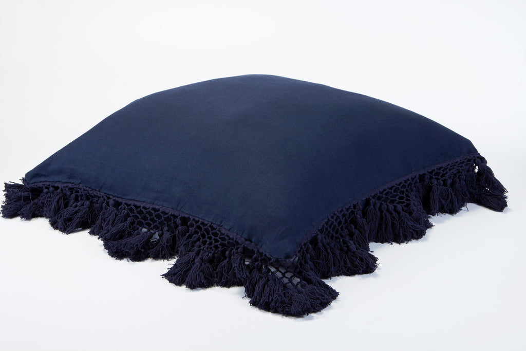 Hand Knotted Fringing European Pillowcase - Prussian Blue