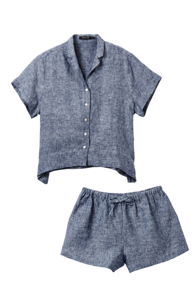 Denim Evie Shirt w/ Shorts Set