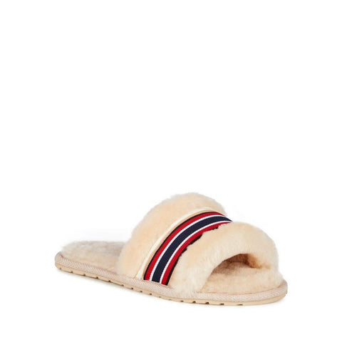Sheep Skin Stripe Slides Natural