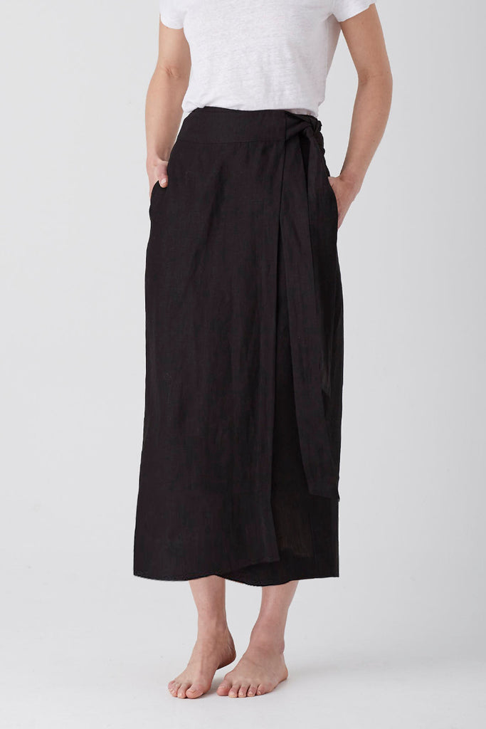 Black Iris Wrap Skirt