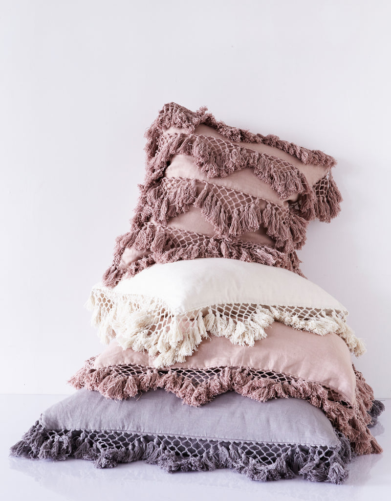 Hand Knotted Multi Fringing Cushion - All colours