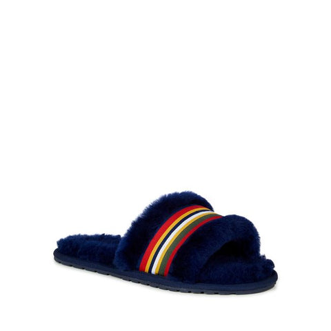 Sheep Skin Stripe Slides Navy