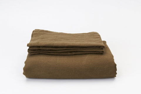 Olive French Linen Duvet Set - NEW COLOUR