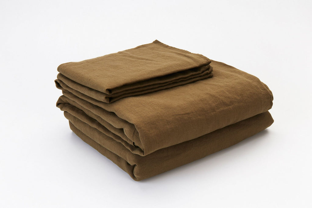 Olive French Linen Sheet Set - NEW COLOUR