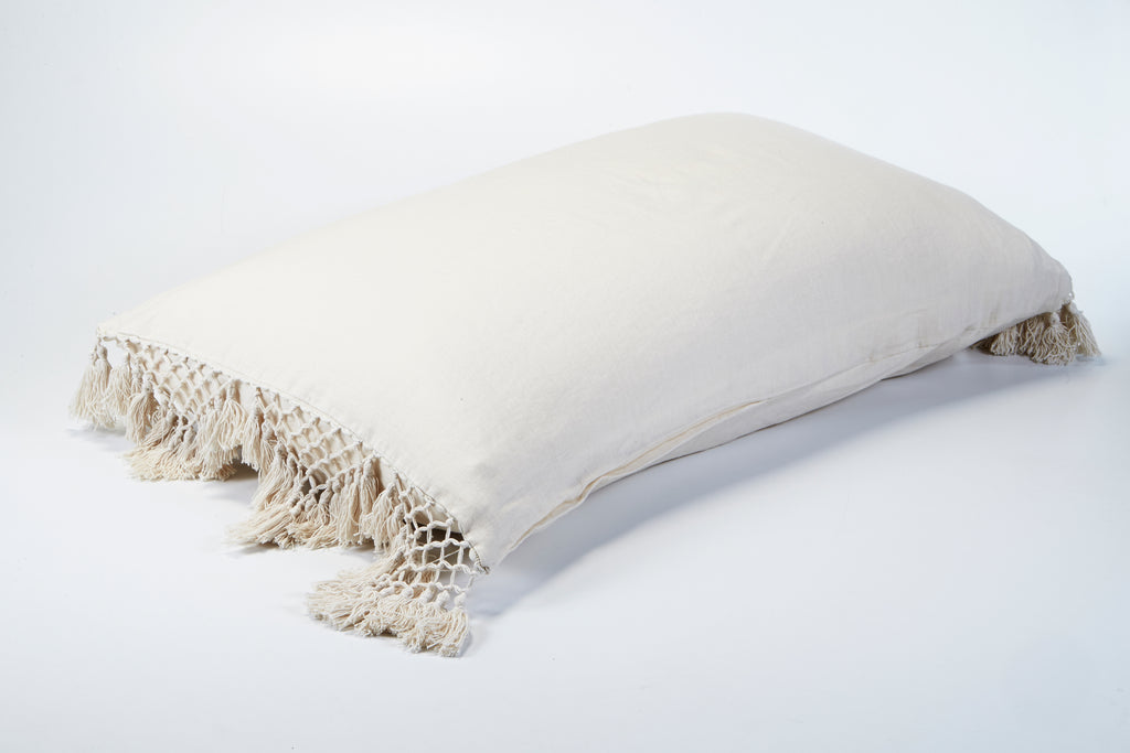 Hand Knotted Fringing Standard Pillowcase - Parchment