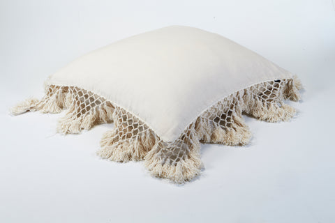Hand Knotted Fringing Cushion - Parchment