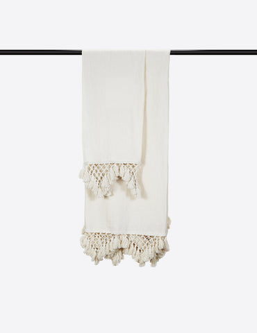 Hand Knotted Fringe Bath Sheet & Hand Towel - Parchment