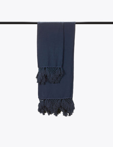 Hand Knotted Fringe Bath Sheet & Hand Towel - Prussian Blue