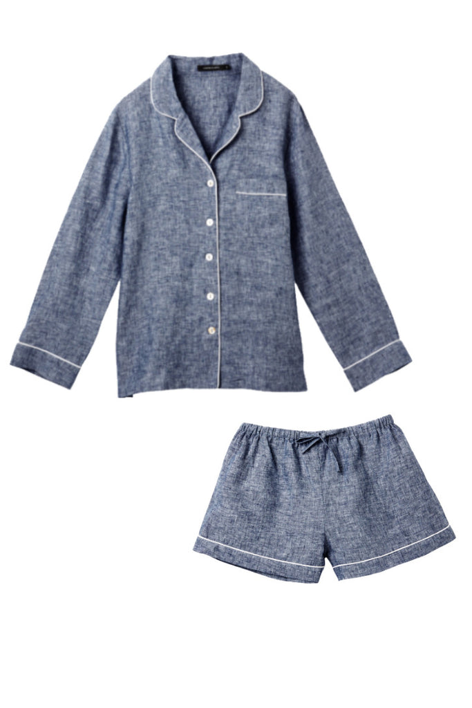 Denim Valentine Shirt w/ Shorts Set