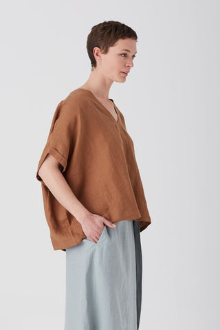 Tobacco Iris V Neck Top