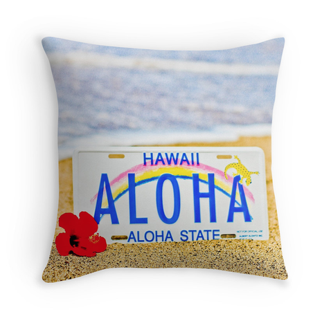 Aloha License Plate Pillow