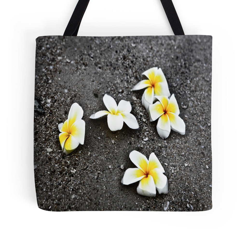 Black Sand Plumerias Tote Bag