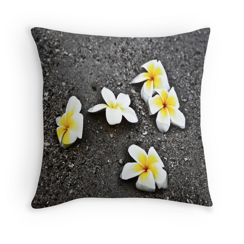 Black Sand Plumerias Pillow