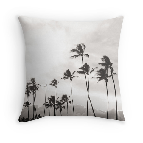 Black and White Palms Pillow