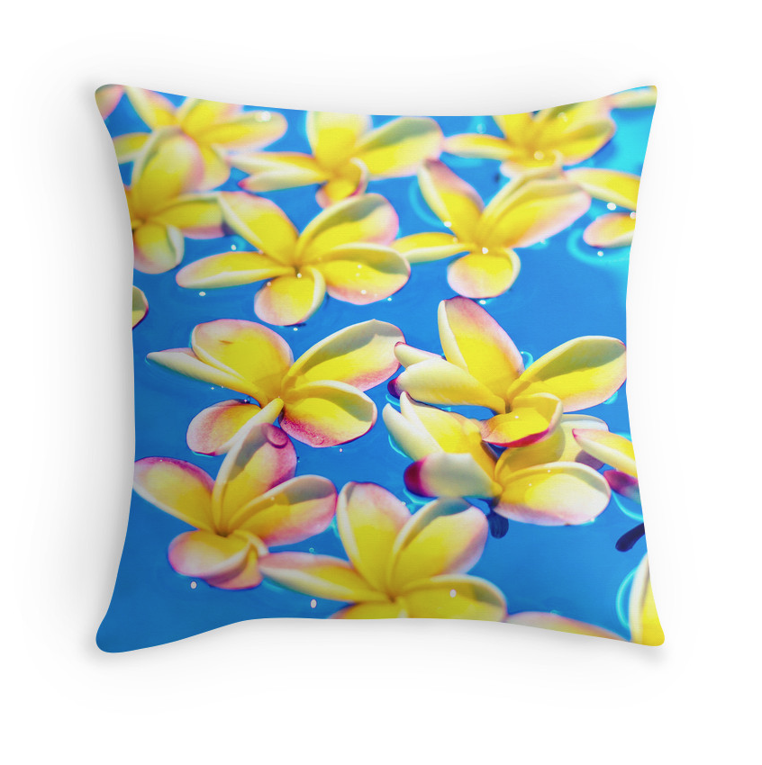 Floating Plumeria Pillow